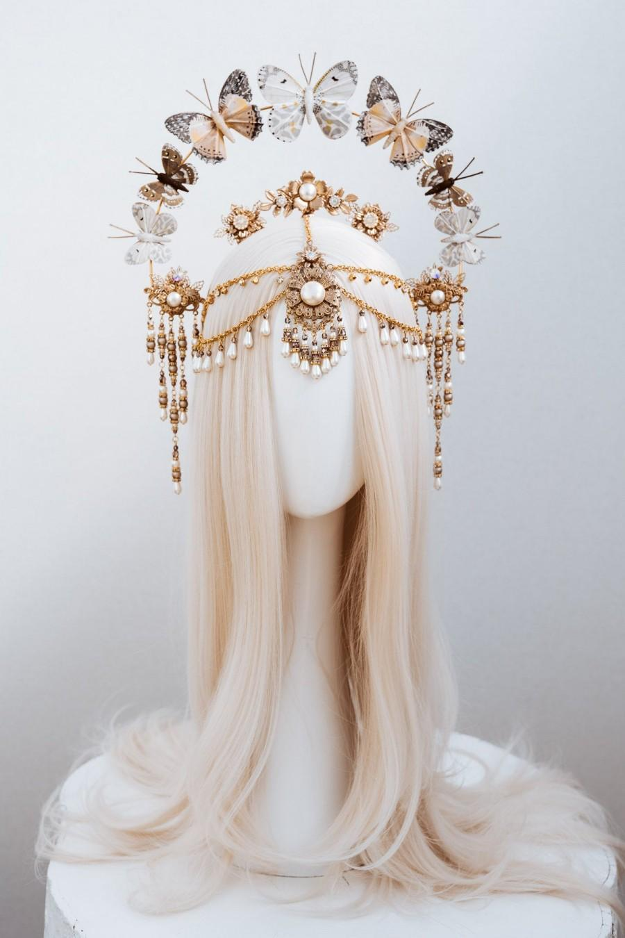 Свадьба - Butterfly crown, Gold Halo Crown, Halo, Halo Crown, Halo Headpiece, Halo Headband, Halo Headlights, Crown, Gold Halo, Headpiece,Boho Wedding
