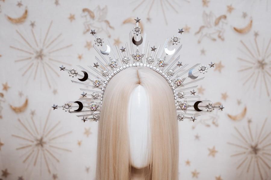 Wedding - Sun crown, Moon child Halo, Halo, Halo Crown, Halo Headpiece, Halo Headband, Halo Headlights, Gold Halo, Headpiece, Wedding Crown,Boho Stars