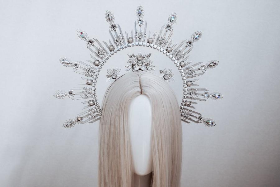 Wedding - Halo Crown, Silver Halo Headband, Halo, Halo Headpiece, Crown, Headband, Headpiece, Boho Wedding, Wedding Halo crown, Silver tiara, Crown