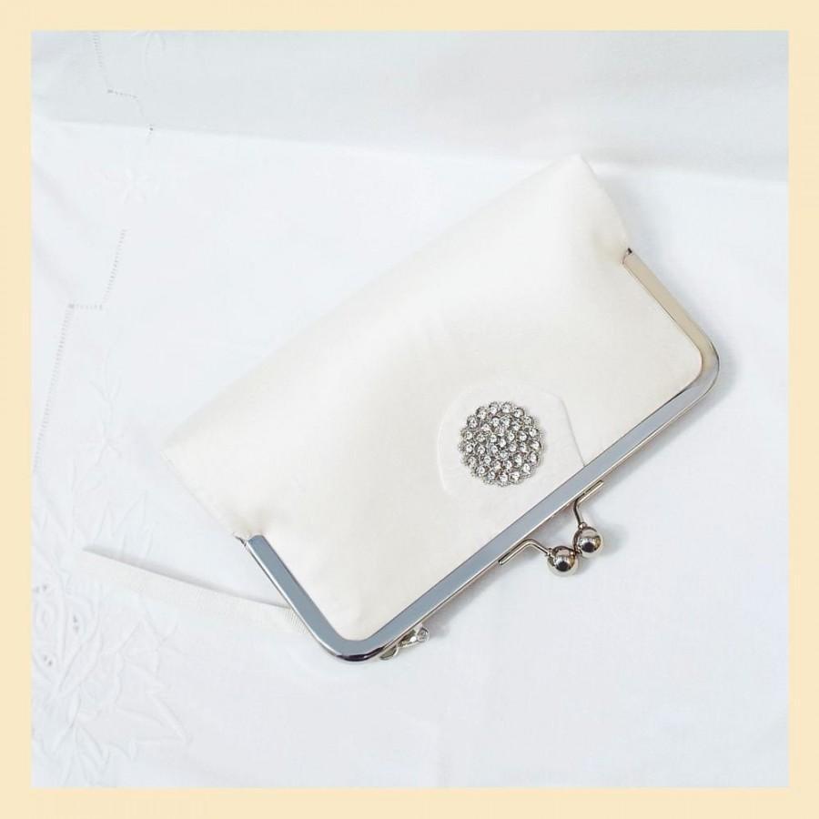 Wedding - wedding clutch, ivory bridal purse, clutch bag for wedding, small silk bridal clutch