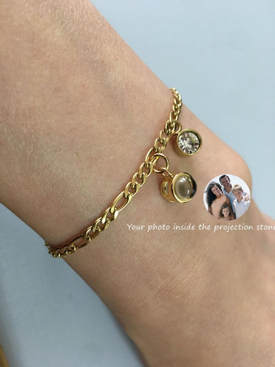 Wedding - Custom Birthstone Bracelet Photo Projection Bracelet Birthstone Initial Bracelet Birthstone Bracelet For Mom Family Birthstone Bracelet