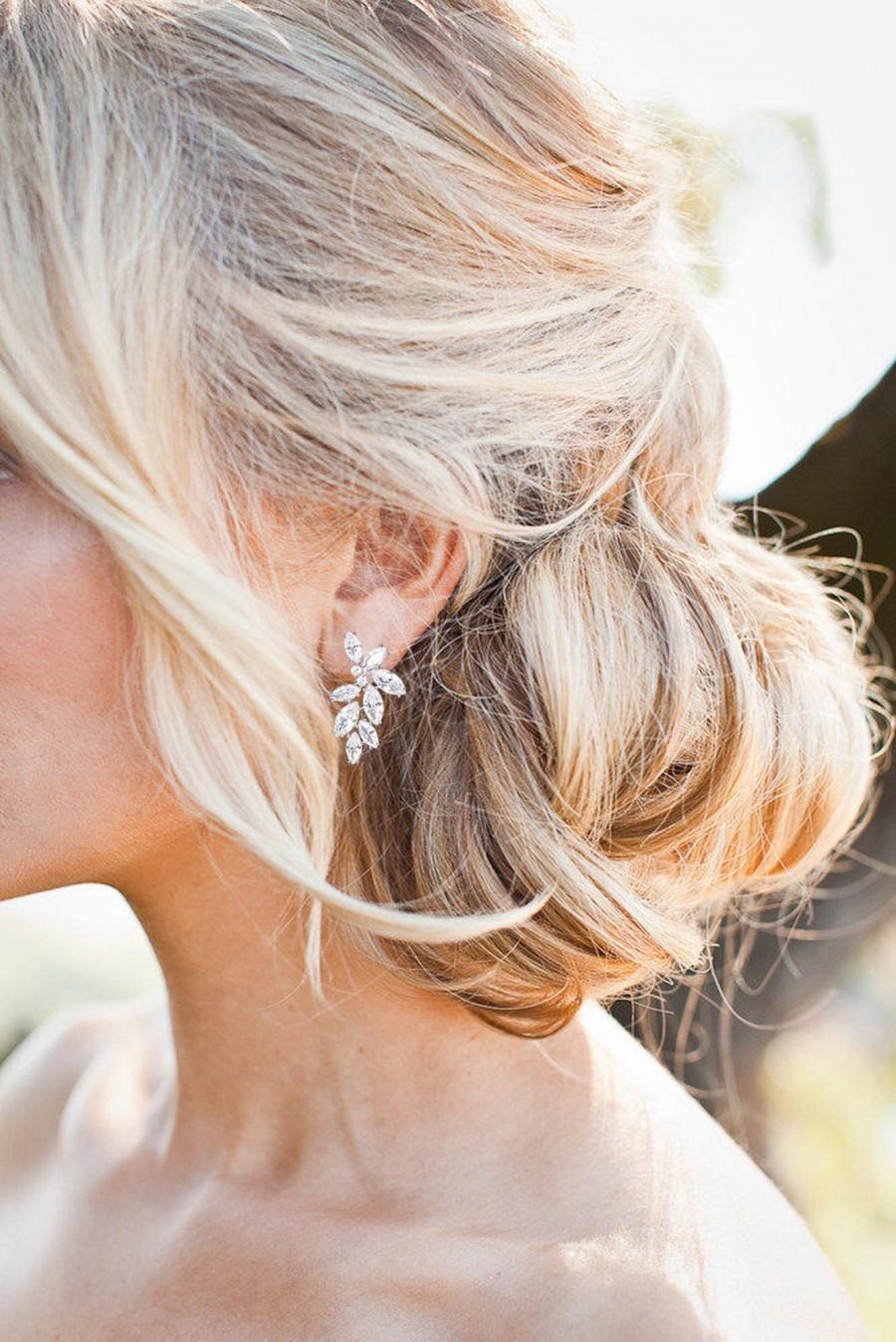 Wedding - Swarovski Crystal Earrings Bridal Earrings Drop Wedding Earrings Bridal Jewelry set Bridesmaids Earrings  Crystal Drop Earrings