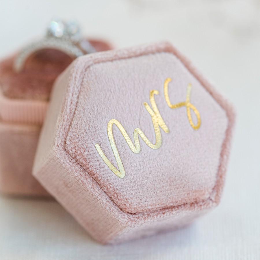 Wedding - Personalized Velvet Ring Box - Mrs - Hexagon Double Ring Box - Ring Bearer - Engagement Ring box - Wedding Ring Box #VRB03