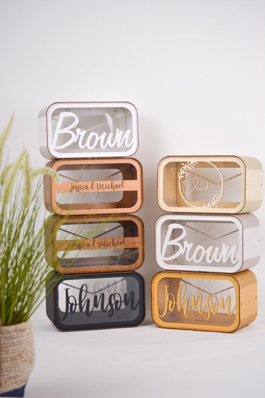 Wedding - Personalized Wedding Card Box - Money Box for Wedding - Wood Envelope Box - Wedding Gift Box - Wedding Decor