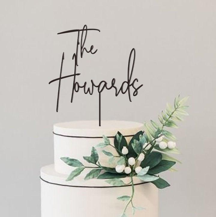 Wedding - Rustic Wedding Cake Topper / Custom Script Cake Toppers for Wedding / Personalized Wedding Cake Topper /  Mr and Mrs Cake Toppers -by TOA