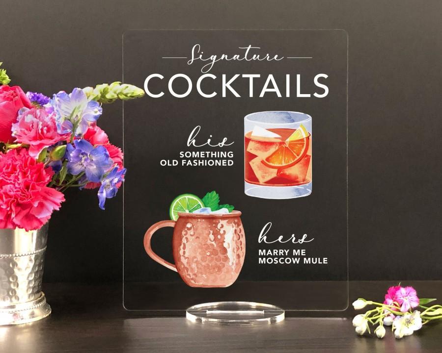 Wedding - Bar Menu Signature Drinks! - His, Hers, Bar Menu Sign, Bar Sign for wedding and special events.