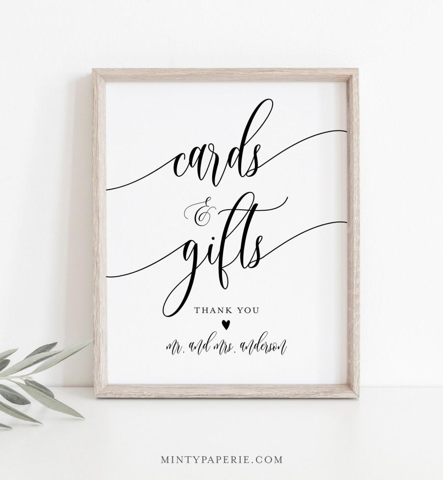 Wedding - Cards and Gifts Sign, Printable Wedding Gift, Editable Template, Modern Calligraphy, Tabletop Sign, Instant Download, Templett 8x10 #008-08S