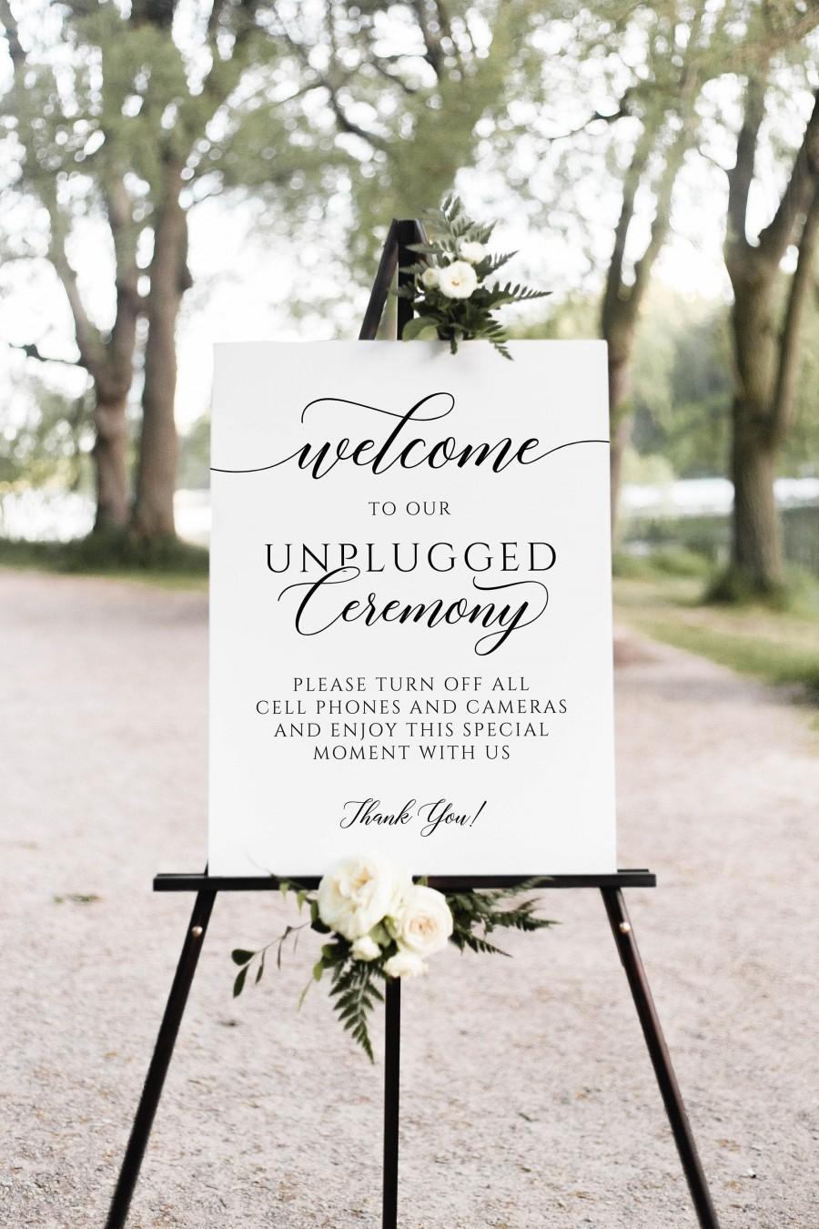 Wedding - Unplugged ceremony sign, Wedding unplugged sign, Minimalist sign #SCR020LWT