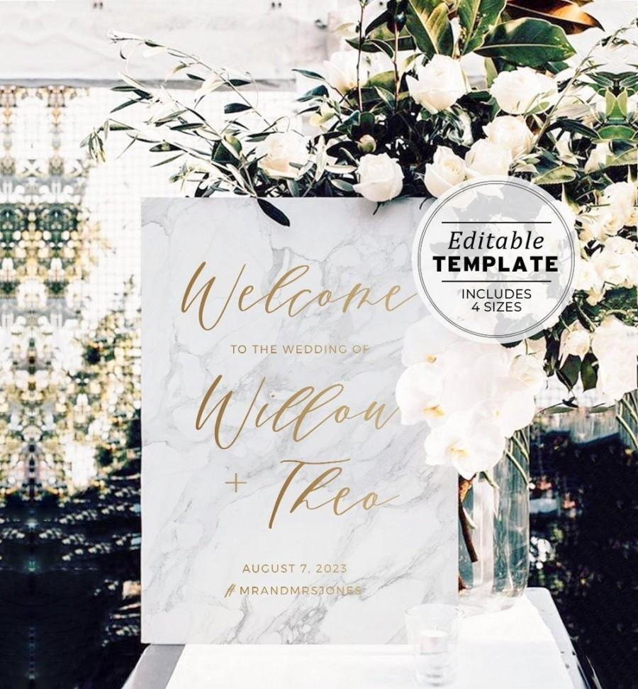 Wedding - Marble Textured & Gold Wedding Welcome Sign Printable Template #010