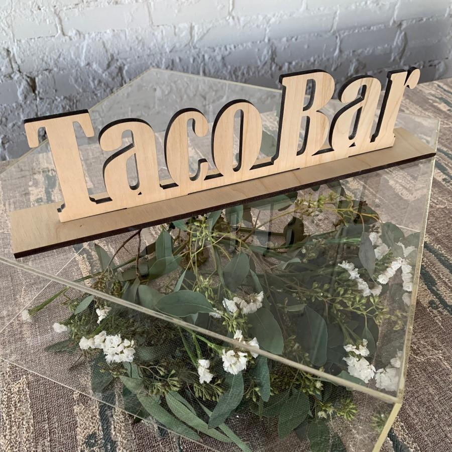 Wedding - Taco Bar Wood Sign - Taco Bar Sign - Wedding Taco Sign - Wedding Food Signs - Fiesta Bar - Food Signage - Unfinished Taco Stand Sign