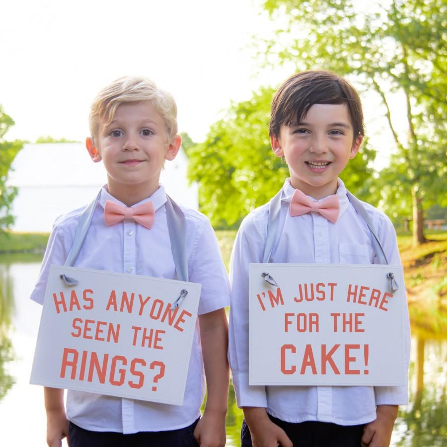 Wedding - Two Ring Bearer Signs Funny Page Boy Signs Has Anyone Seen The Rings + I'm Just Here For The Cake 2 Ringbearers Flower Girl Wedding 2079