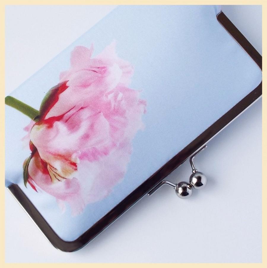 Wedding - clutch bag, blue wedding purse, floral clutch bag, Summer wedding clutch with pink peony flower