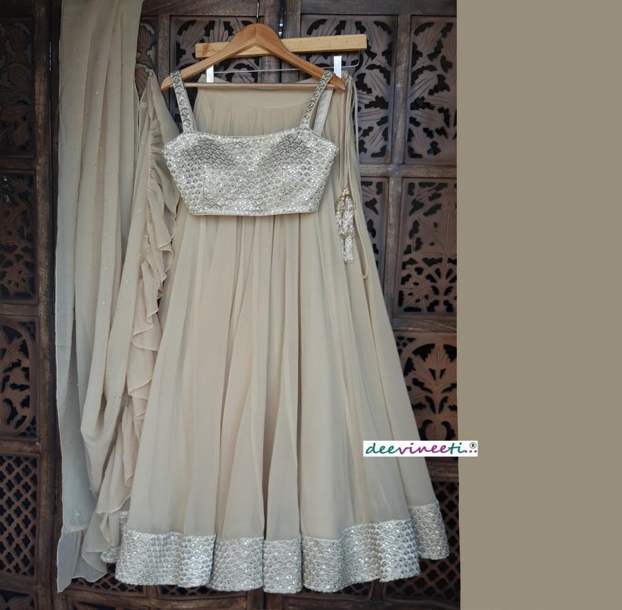 Wedding - Made To Order Indian Designer Beige Embellished Georgette Designer Lehenga Choli for Bridal Bridesmaid Dress
