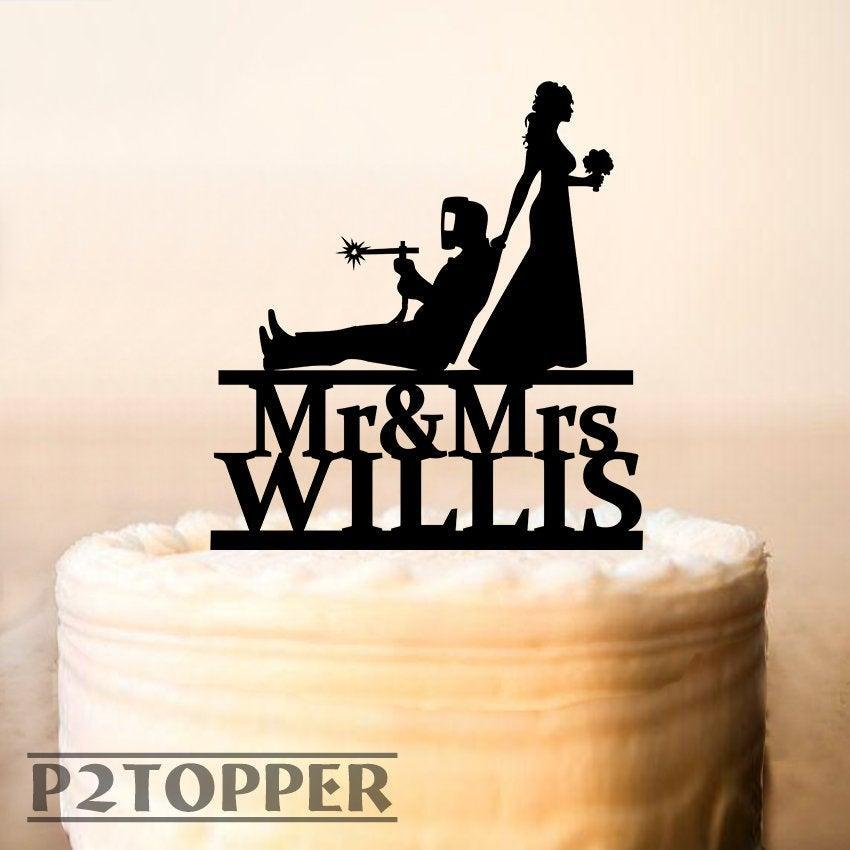 Wedding - Personalized Welder and Bride Wedding Cake Topper, Professional Welder Cake Topper,  Welding Soldering Blowtorch, Funny cake topper  (0418)