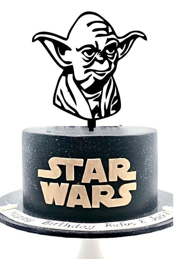 Wedding - Large -Yoda Star Wars Inspired Custom Happy Birthday Wedding Acrylic Cake Topper