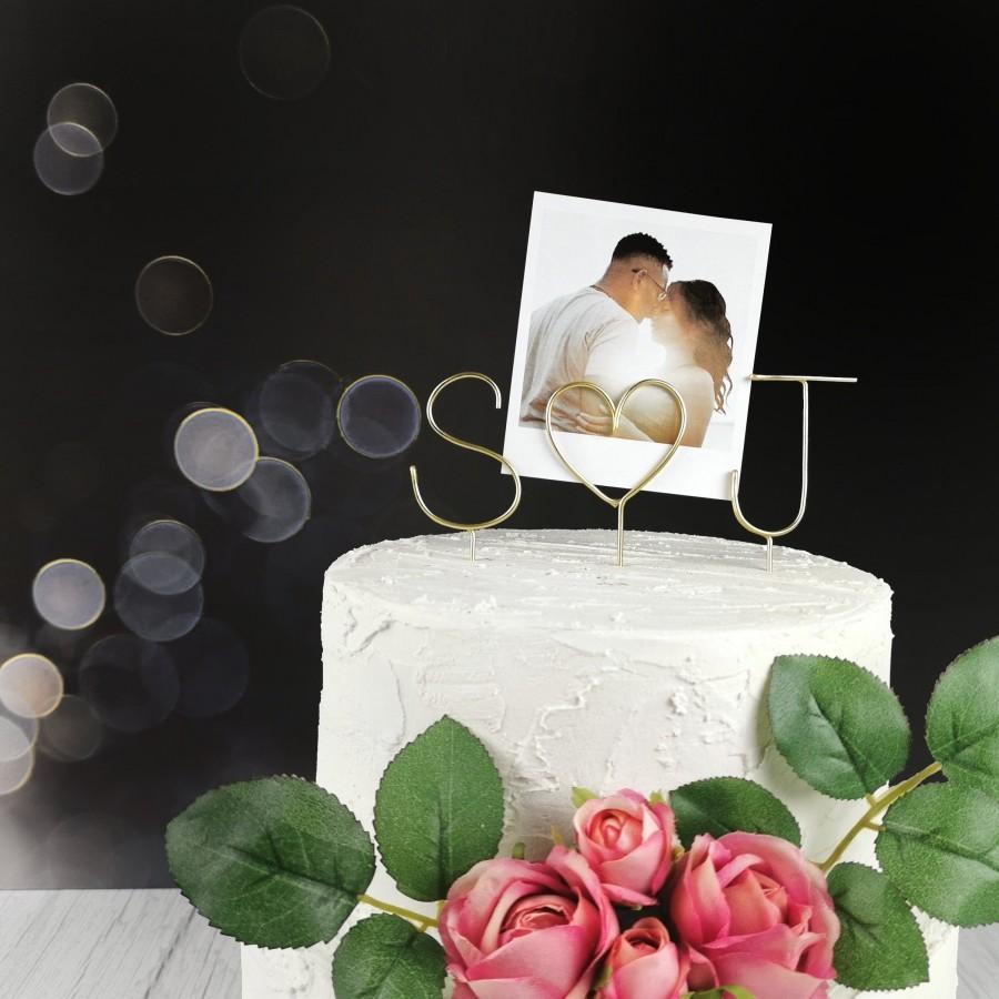 Wedding - Photo Holder Wedding Cake Topper - Initials Wedding Cake Topper - Wire Cake Topper - Personalised Cake Topper - Wedding Photo Cake Topper