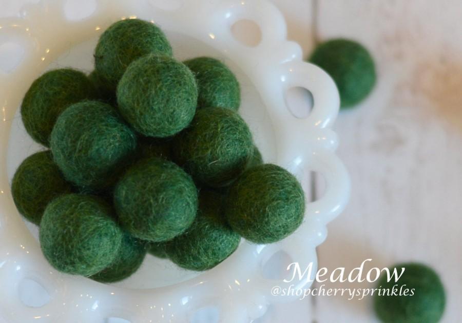 Wedding - MEADOW 1cm -2cm 100% Wool Felt Balls -Felt Pom Pom *Green wool balls, DIY Pom Pom Garland - DIY Felt Ball Garland * Wool Balls *Mantel Decor