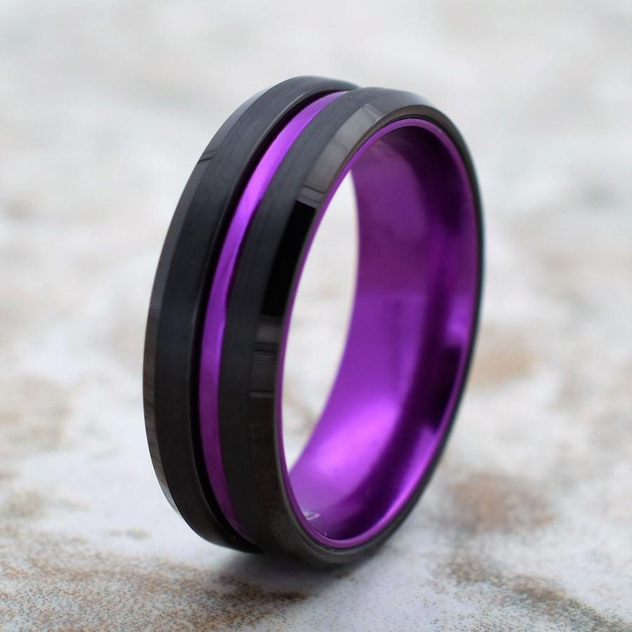 Wedding - Tungsten Wedding Band, Men's Black Wedding Band, Black Tungsten Ring, Purple, Tungsten Band, Purple Tungsten Ring, Purple Tungsten Band