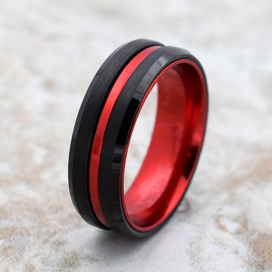 زفاف - Tungsten Wedding Band, Black Tungsten Band, Red Tungsten Ring, Tungsten, Tungsten Band, Personalized Engraving, Black Tungsten Ring