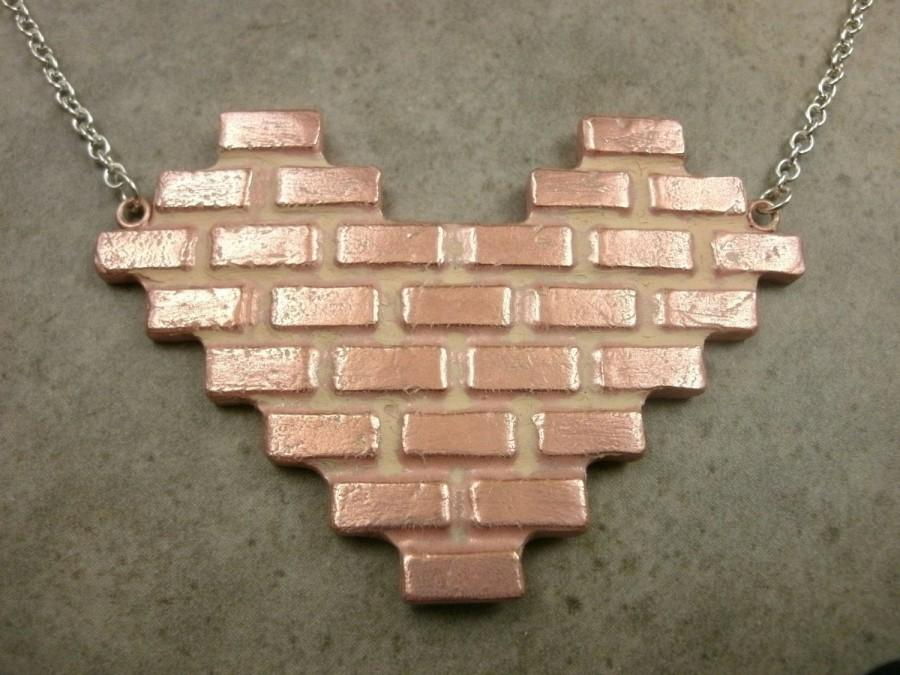 زفاف - Brick Wall Necklace in Copper and Sterling Silver- Love Jewelry- Industrial Jewelry- Pink Heart- Valentine's Day Gift- Valentine Jewelry