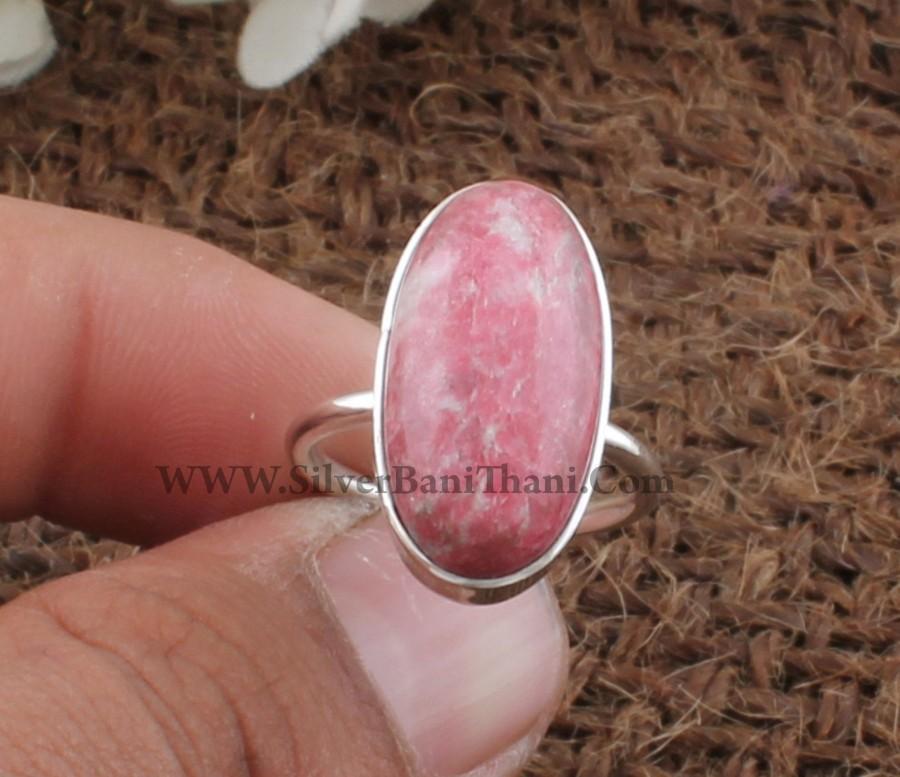 زفاف - Natural Thulite Oval Shape Gemstone Silver Ring