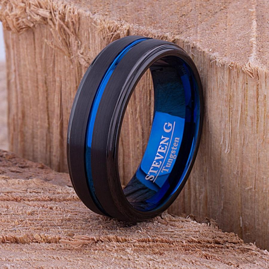 Wedding - Tungsten Mens Wedding Band 8mm with Blue and Black Brush Finish for Mans Engagement Ring, Mens Promise Ring, Gift for Boyfriend or Husband