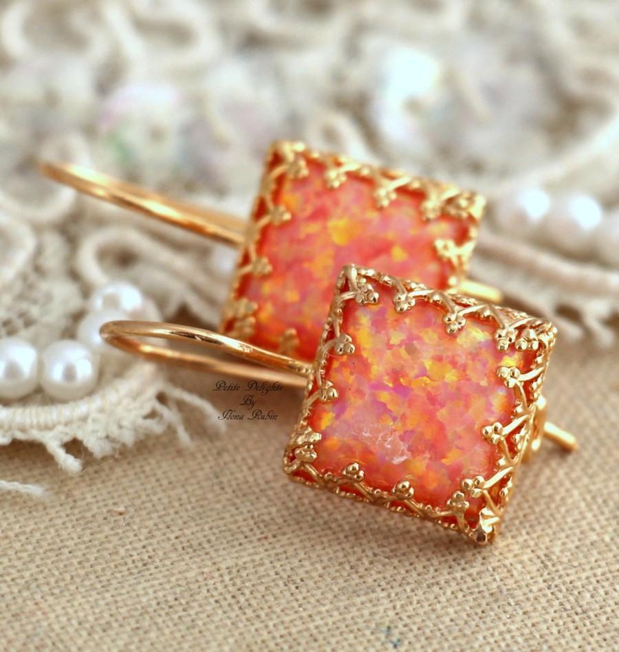 Wedding - Opal Earrings, Opal Drop Earrings, Fire Opal Earrings, Gift for her, Christmas Gift, Australian Opal, Orange Earrings, Opal Gold Earrings