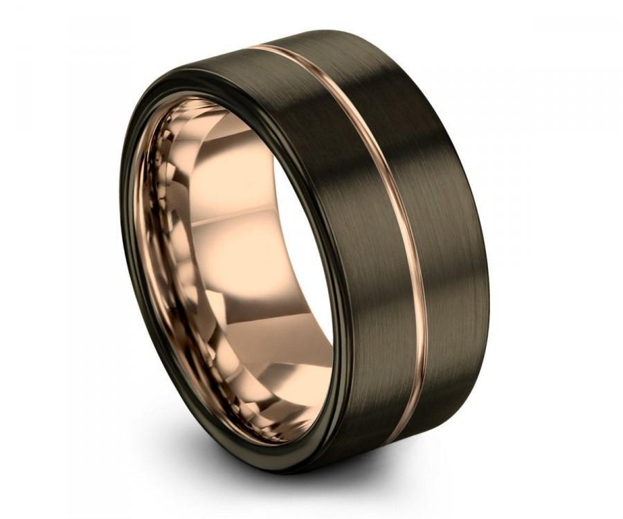 Wedding - GUNMETAL Tungsten Ring, Mens Wedding Band Rose Gold 18K 12mm, Wedding Rings, Engagement Ring, Promise Ring, Rings for Men, Gold Ring