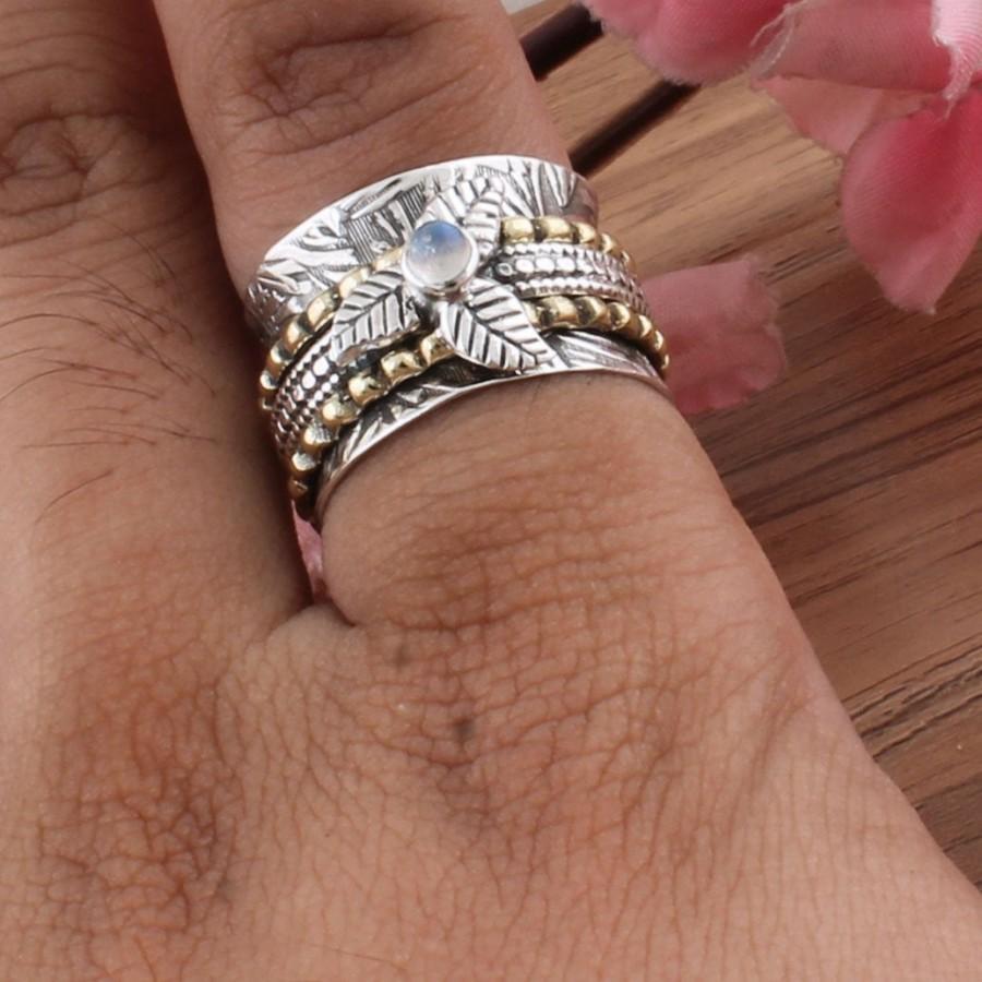 Wedding - Rainbow Moonstone Ring,Spinner Ring 925 Sterling Silver Ring,Two Tone Ring,Small Rainbow Moonstone Spinner Ring Thumb Spinner Band Ring