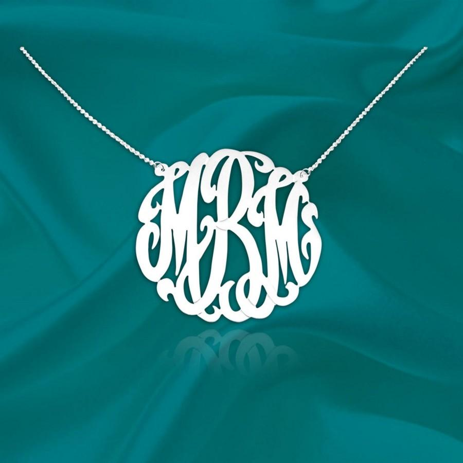 Mariage - Original Monogram Necklace - Sterling Silver Initial Necklace - Personalized Monogram Necklace - Monogrammed Gifts for her - Made in USA