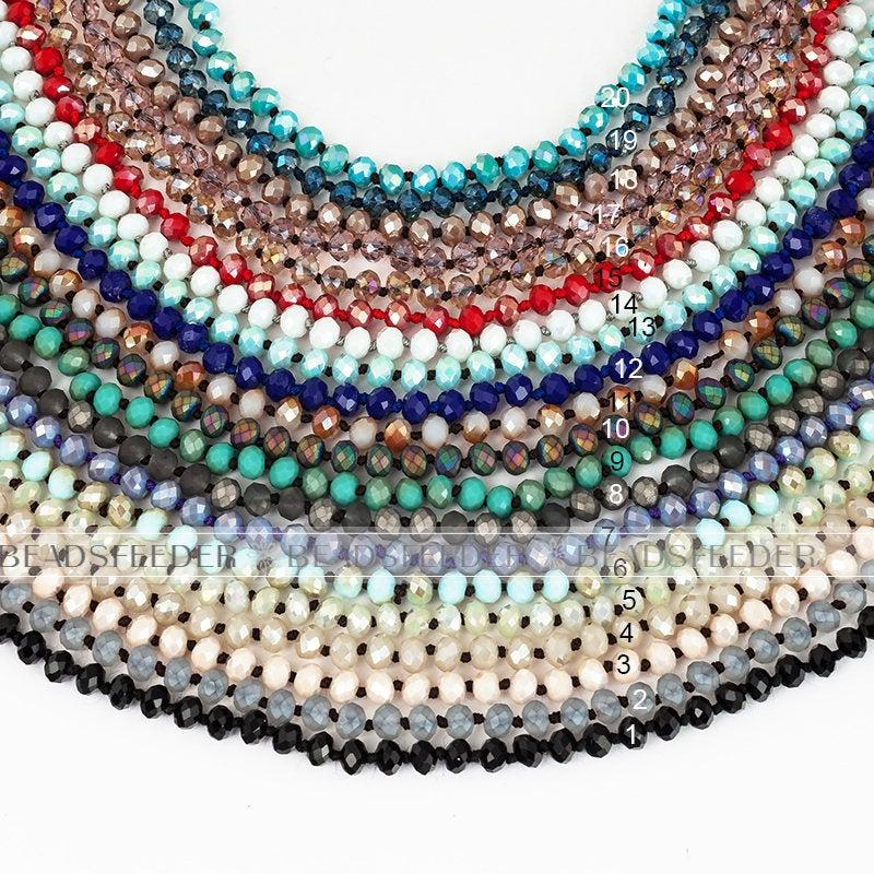 Wedding - 30'' / 60''  inch  knotted necklace chain,ready to wear, 8mm crystal glass beads knotted,  ideal for pendant/stack layer necklace , 1 strand
