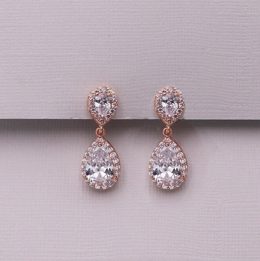 Wedding - Rose Gold Clip on Earrings, pear cubic zirconia earrings, clip on wedding earrings, Kensley Rose Gold Clip Earrings