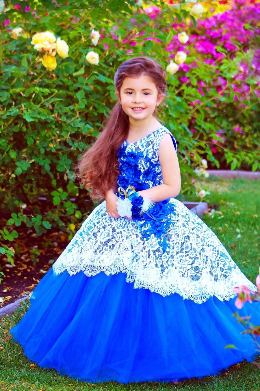 زفاف - Royal Blue Flower girl dress Tulle Princess party girls