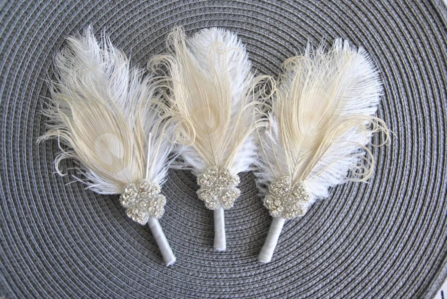 Wedding - Crystal Groom boutonniere Ostrich Feather Bridal Ivory Gold Gatsby 1920s groomsmen boutonnire wedding feathers boutonniere button hole pin