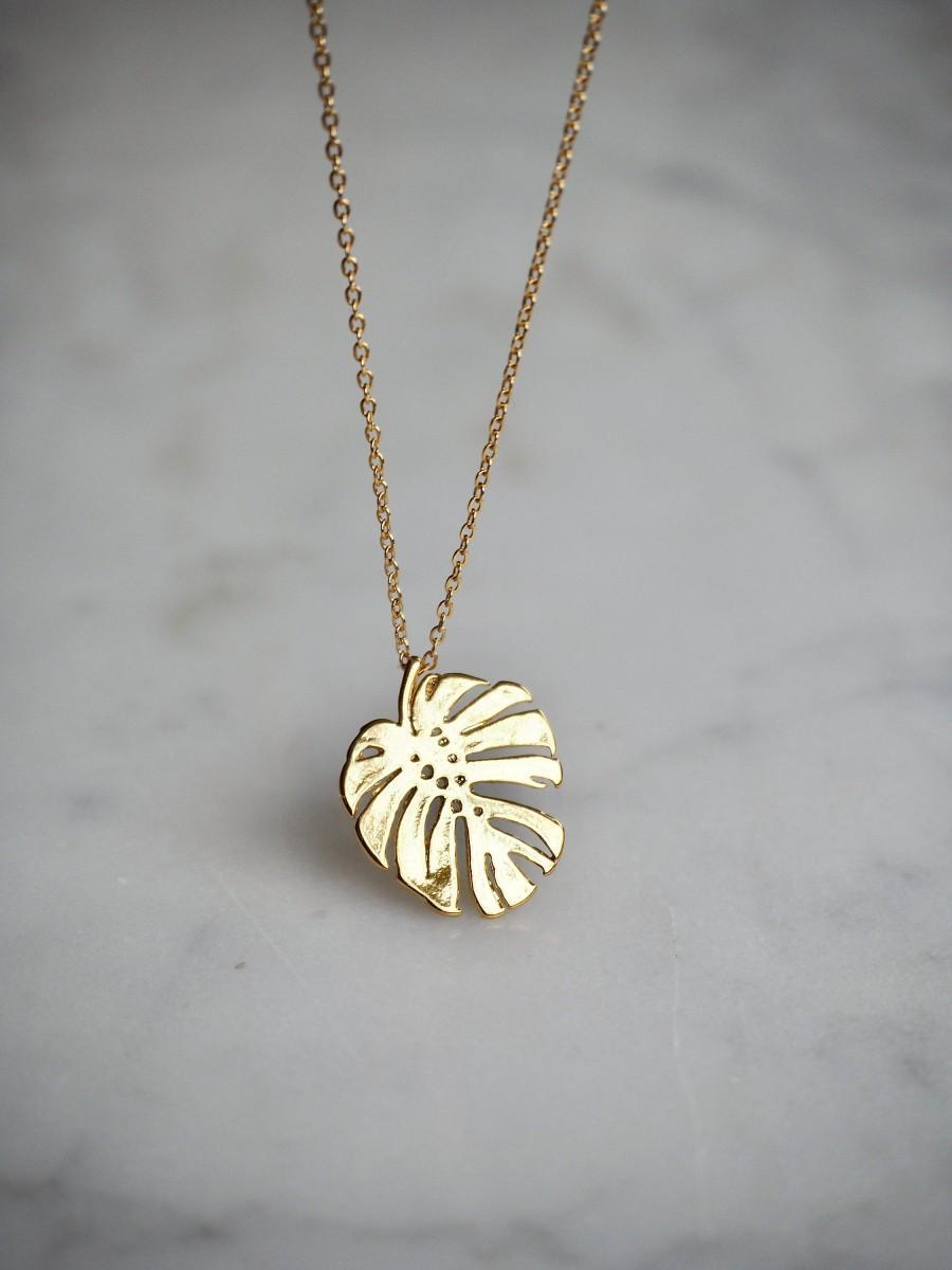 Wedding - Tropical Gold Leaf Pendant Necklace, 14K Gold Filled Necklace