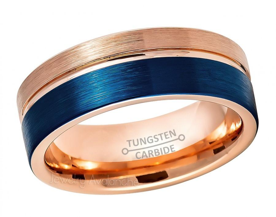 Свадьба - Blue & Rose Gold Tungsten Wedding Band, Grooved Pipe Cut Tungsten Carbide Ring, Brushed Finish Comfort Fit Tungsten Anniversary Ring TN878PL