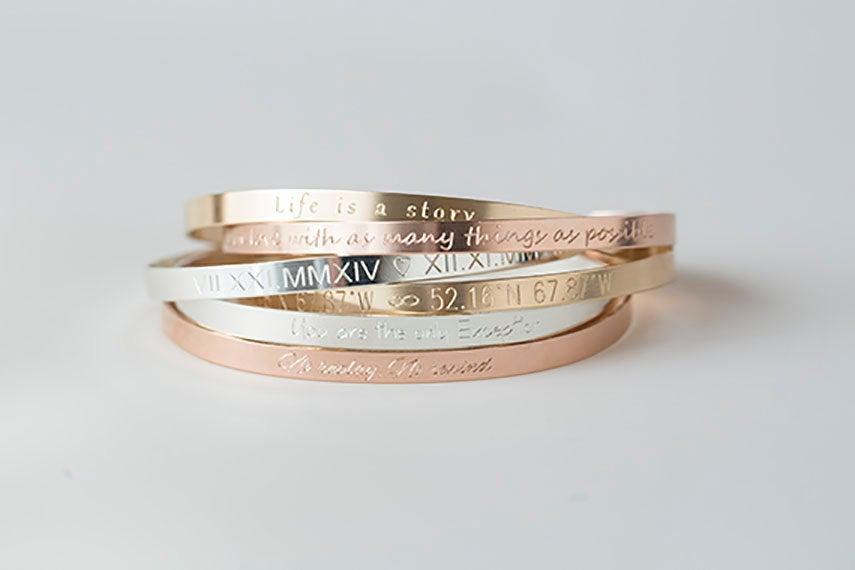 Wedding - Cuff Bracelet,Gold,Rose,Silver Bracelet, Inspirational Bracelet, Engraved Bracelet,Personalized Bracelet,Monogram Bracelet