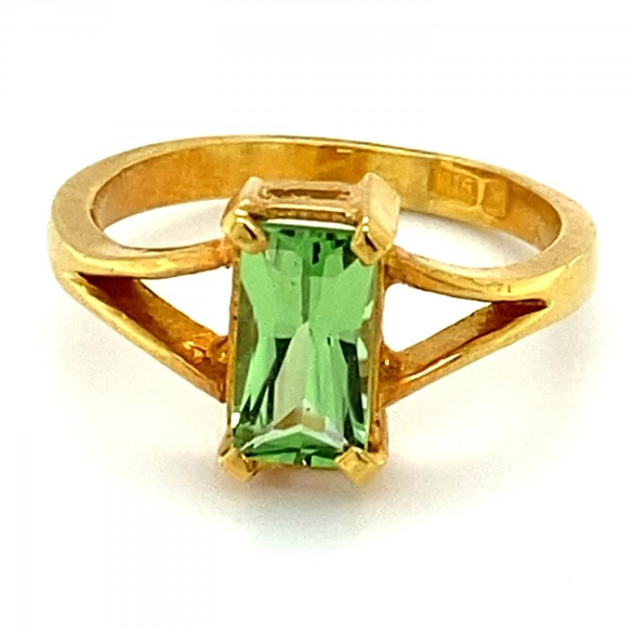 Wedding - Tsavorite Garnet 2.42ct Solid 22K Yellow Gold Solitaire Ring, Tsavorite is Natural and Untreated, Sourced Kenya, Ring Size 5.75, Octagonal,