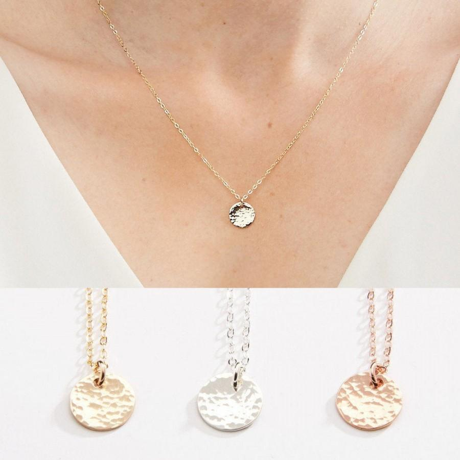 Свадьба - Hammered Texture Small Round Disc Necklace - 3/8 inch - 9.5 mm- Gold Filled, Rose Gold Filled & Sterling Silver - CG204N