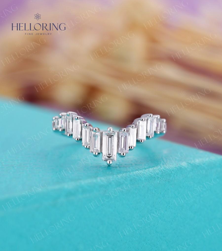 زفاف - Art deco diamond wedding band White gold, Baguette diamond wedding band, Vintage CZ Matching stacking band Bridal Promise Anniversary ring