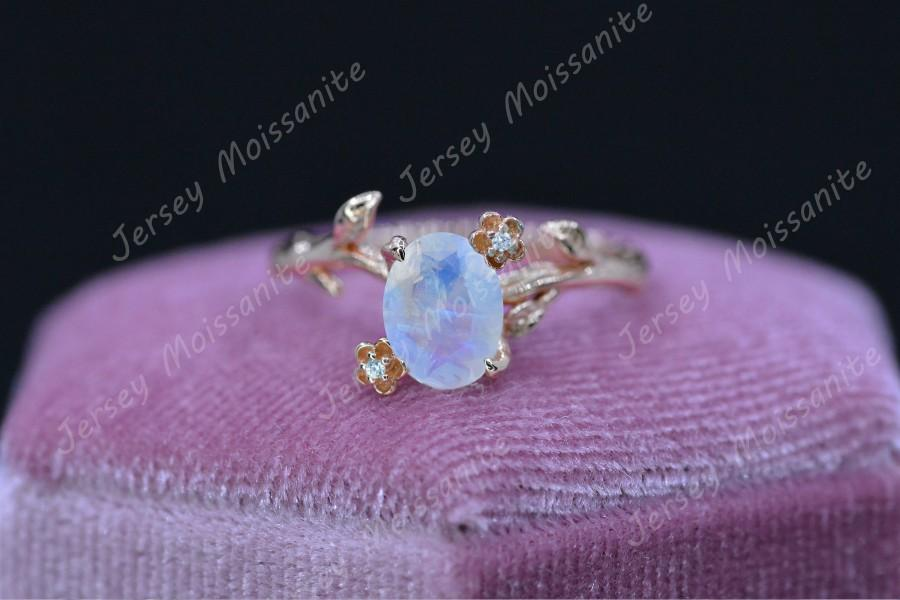 Hochzeit - Rose Gold Plated Silver Floral Style Natural Moonstone Ring, 2ct Oval Cut Moonstone Ring, Rose Gold Twig Moonstone Ring