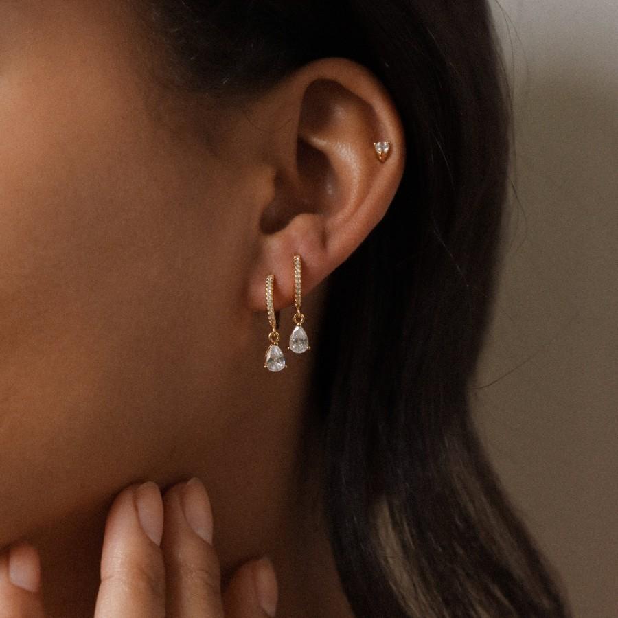 Mariage - HANNAH Earrings by CaitlynMinimalist • Pave Huggie Hoops • Diamond Dangle Earrings • Perfect Wedding Earrings, Bridal Earrings • ER117