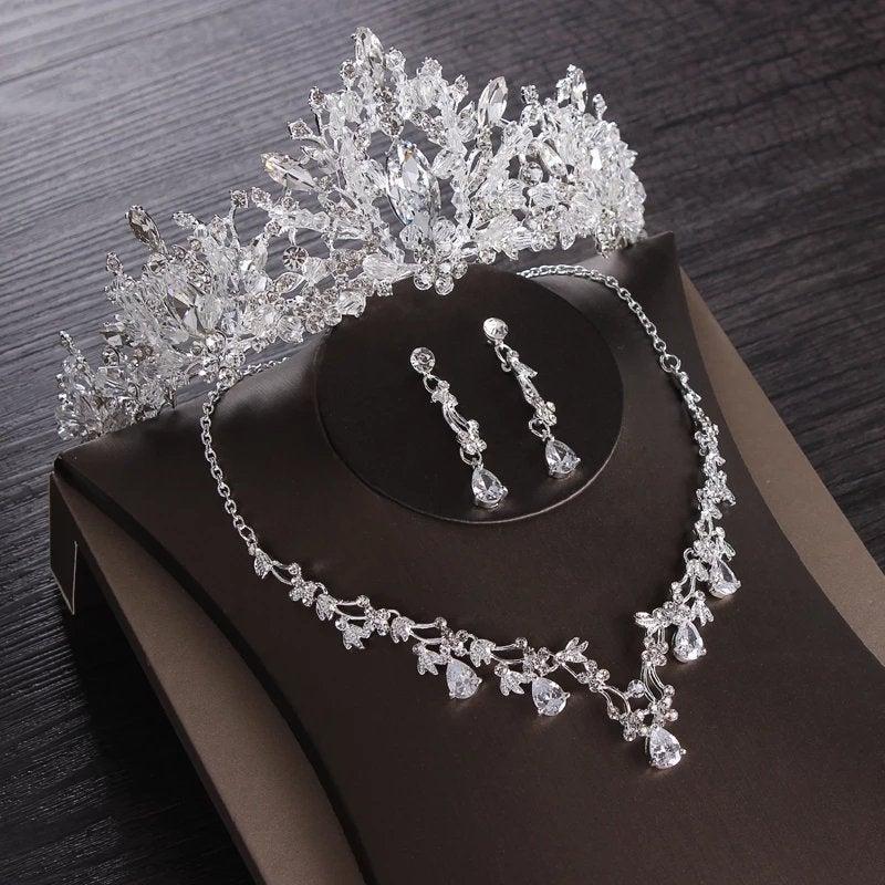 Wedding - Luxury Heart Crystal Bridal Jewelry Sets Wedding Cubic Zircon Crown Tiaras Earring Choker Necklace Set African Beads Jewelry Set,frozen