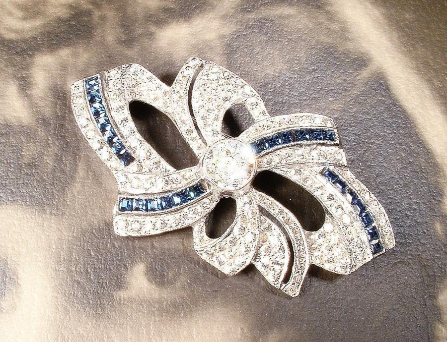 Wedding - Vintage 1930s Art Deco Navy Sapphire Blue Bridal Hair Comb/Sash Brooch, Pave Rhinestone Headpiece, 1920s Wedding Head Piece Something Old