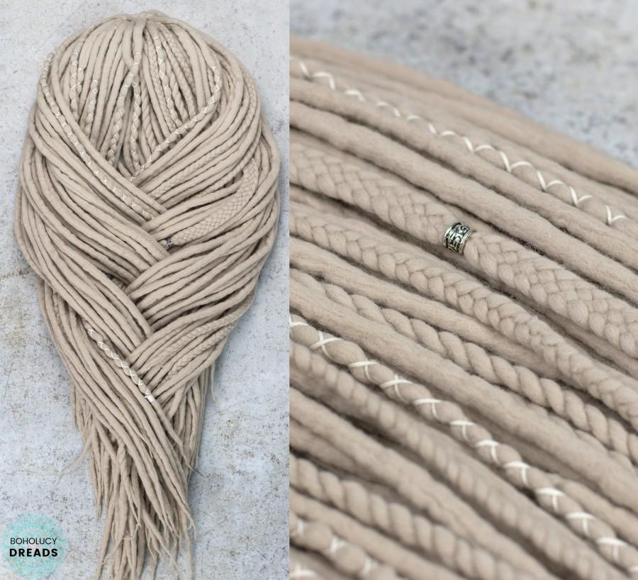 "Wedding - Wool dreads ""Viking"" Full set of blonde dreadlock extensions braids twists double ended fake locs"