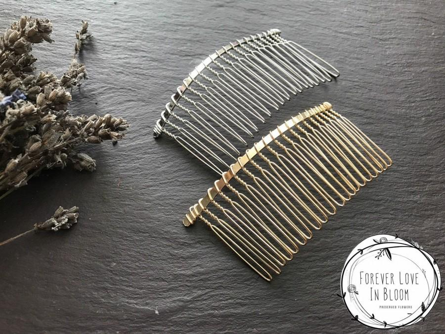 Hochzeit - Large Silver Hair Combs (20 Teethes) Wire Hair Combs for Wedding or Tiara Making Base