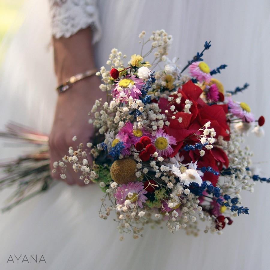 """Свадьба - Bridal bouquet """"Chicago"""" with dried and preserved flowers, boho wedding bouquet handmade of natural flowers, summer wedding flowers bouquet"""