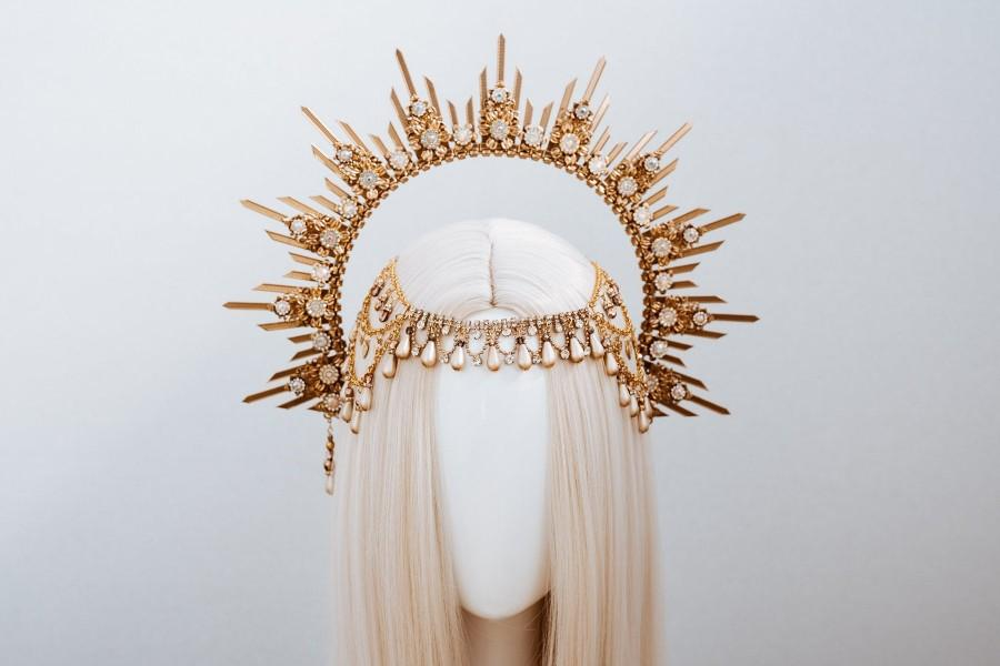 Свадьба - Gold Halo Crown, Halo, Halo Crown, Halo Headpiece, Halo Headband, Halo Headlights, Crown, Gold Halo, Headpiece, Wedding Crown, Headband
