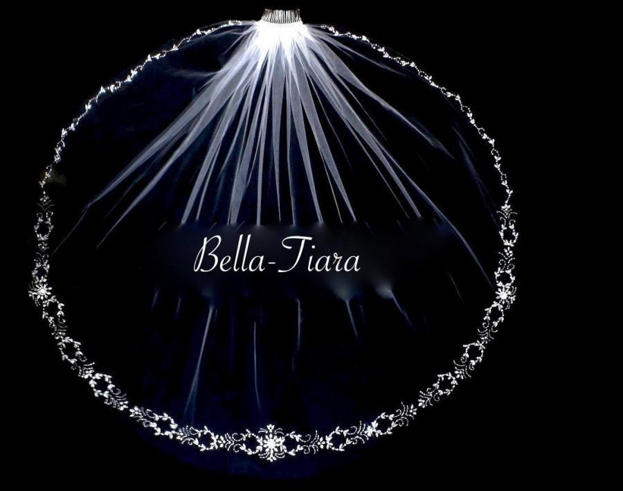 Wedding - crystal beaded edge wedding veil, ivory crystal wedding veil, bridal veil, beaded wedding veil, beaded veil, pearl crystal veil