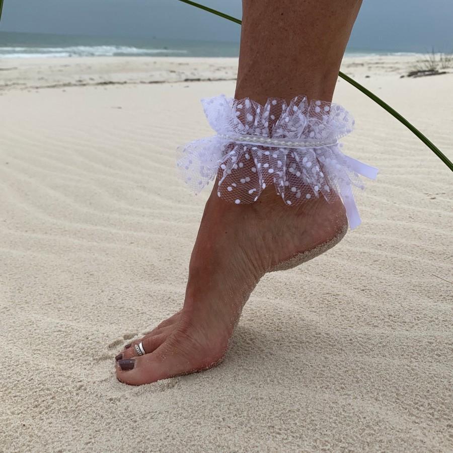 Wedding - Ruffled Beach Wedding Anklet Accessory
